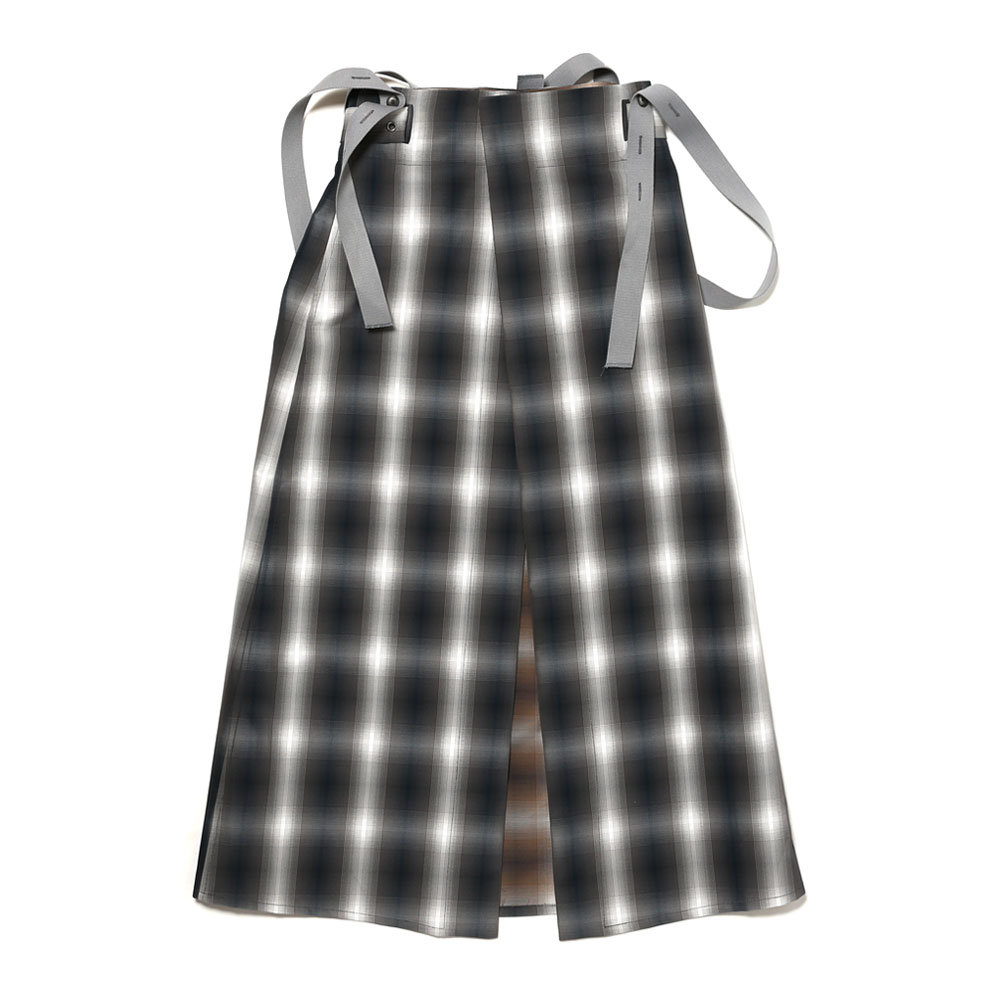SKIRT WITH BELT&STRAPS GREY BLUE CHECK