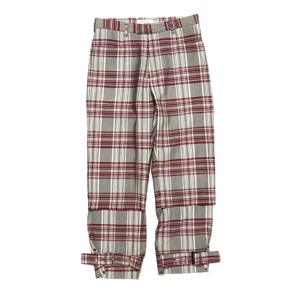 SHORT UNISEX ADJUSTABLE TROUSERS RED CHECK