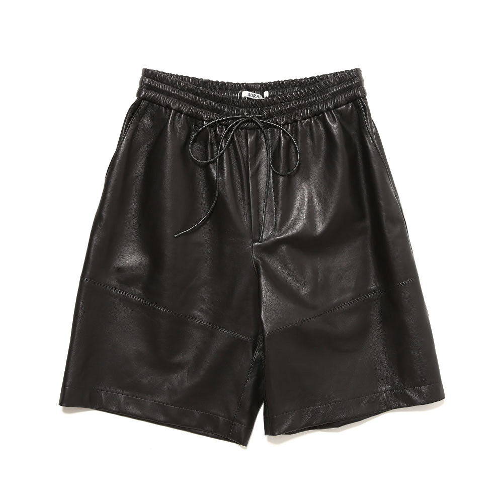 LAMB LEATHER SHORTS BLACK