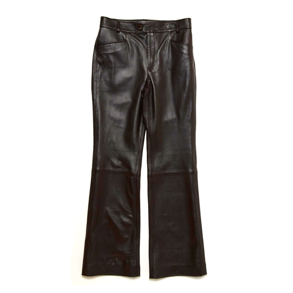 LEATHER FLARE TROUSERS BROWN