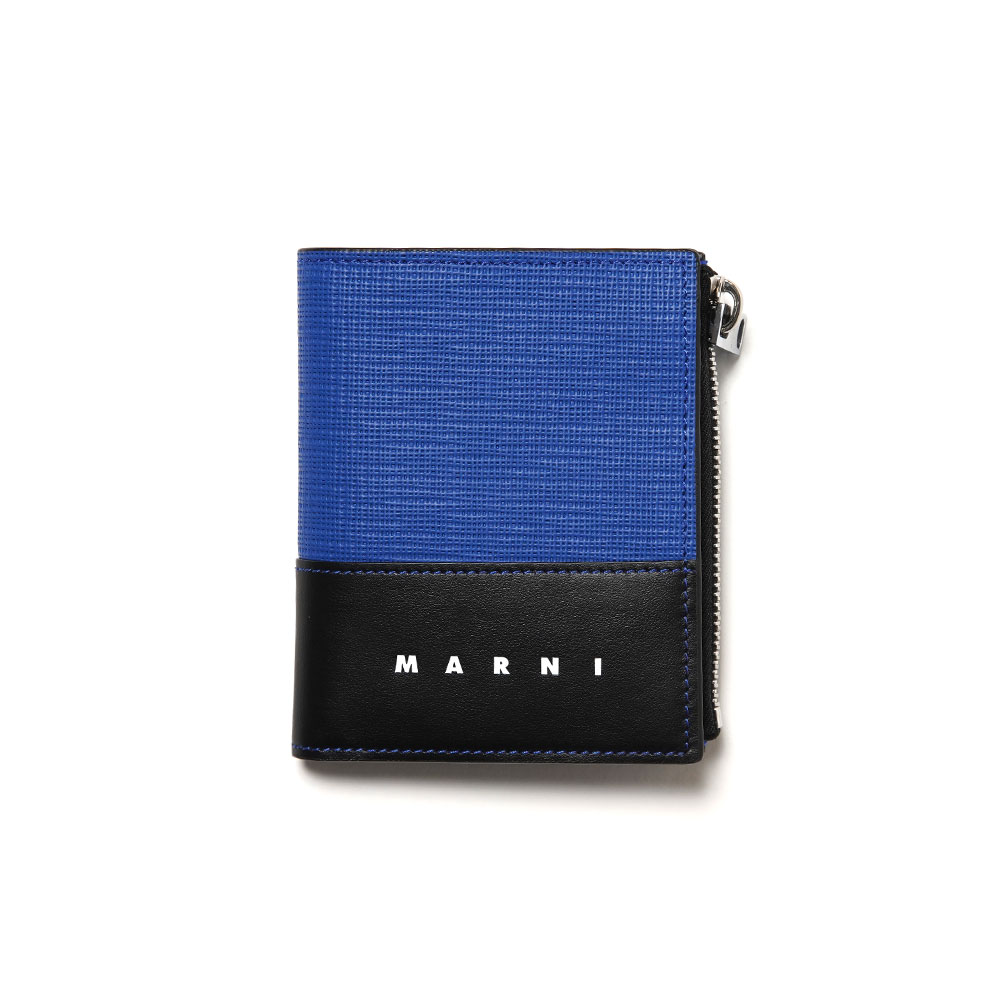 TWO-TONE LEATHER WALLET BLACK/BLUE