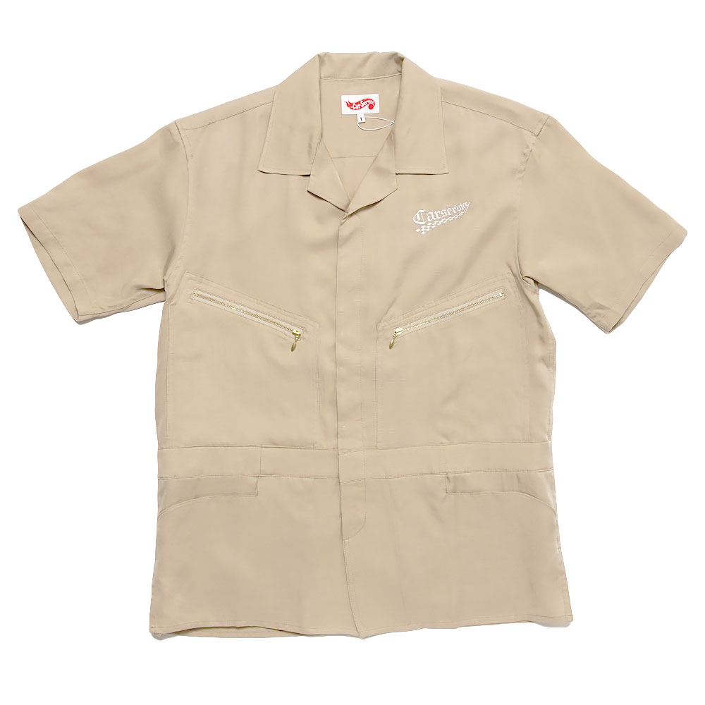 CHECKER LOGO 5 POCKET WORK SHIRT BEIGE