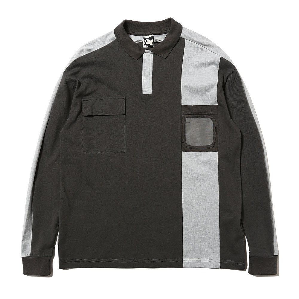 BADGE HOLDER L/S 3M POLO SHIRT GREY