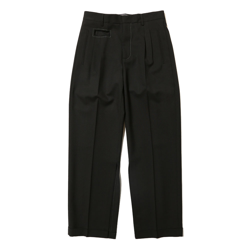 TROPICAL WOOL WIDE SLACKS BLACK