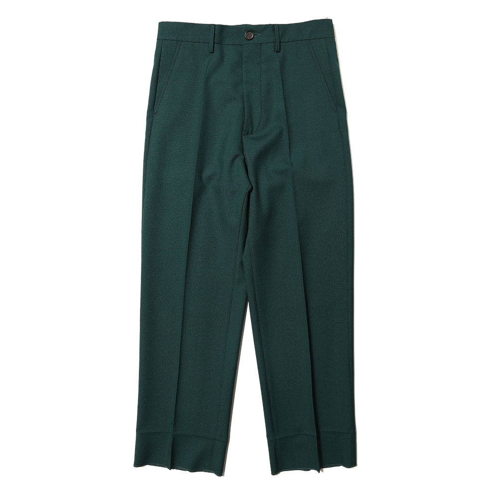 TROPICAL WOOL STRAIGHT SLACKS GREEN