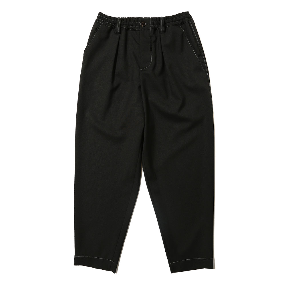 TROPICAL WOOL TAPERED SLACKS BLACK