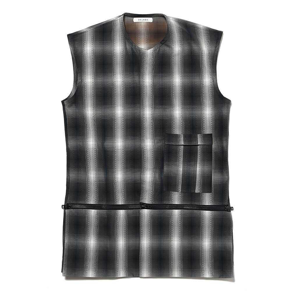 VEST WITH CONCEALED POCKETS GREY BLUE CHECK