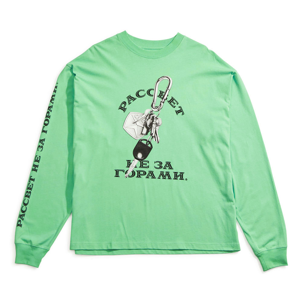 PRINTED LONG SLEEVES T-SHIRT PACC8T011 MINT GREEN