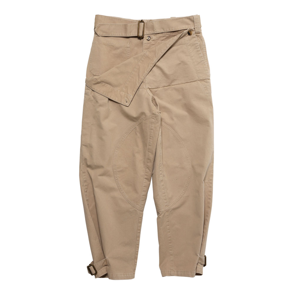 FOLD FRONT COTTON ARMY TROUSERS FLAX