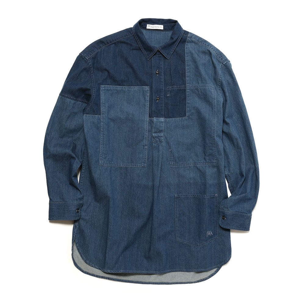 SHADED PATCHWORK DENIM SHIRT