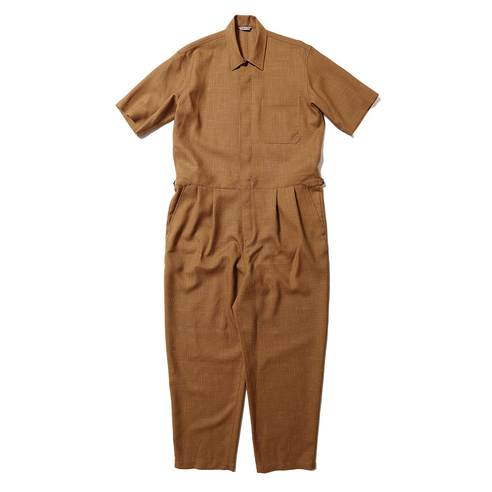 WOOL CUPRA LINEN CLOTH JUMPSUIT A20ST03CL BROWN CHECK