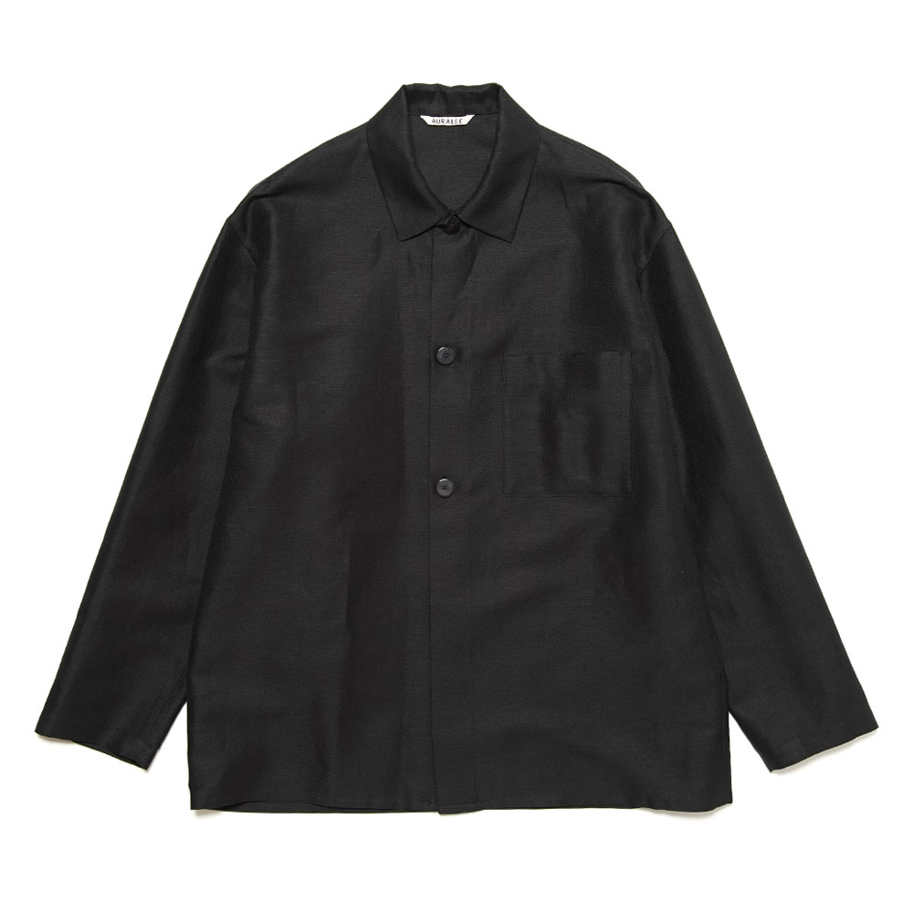 SILK LINEN DOBBY SHIRTS JACKET A21SS01SD BLACK