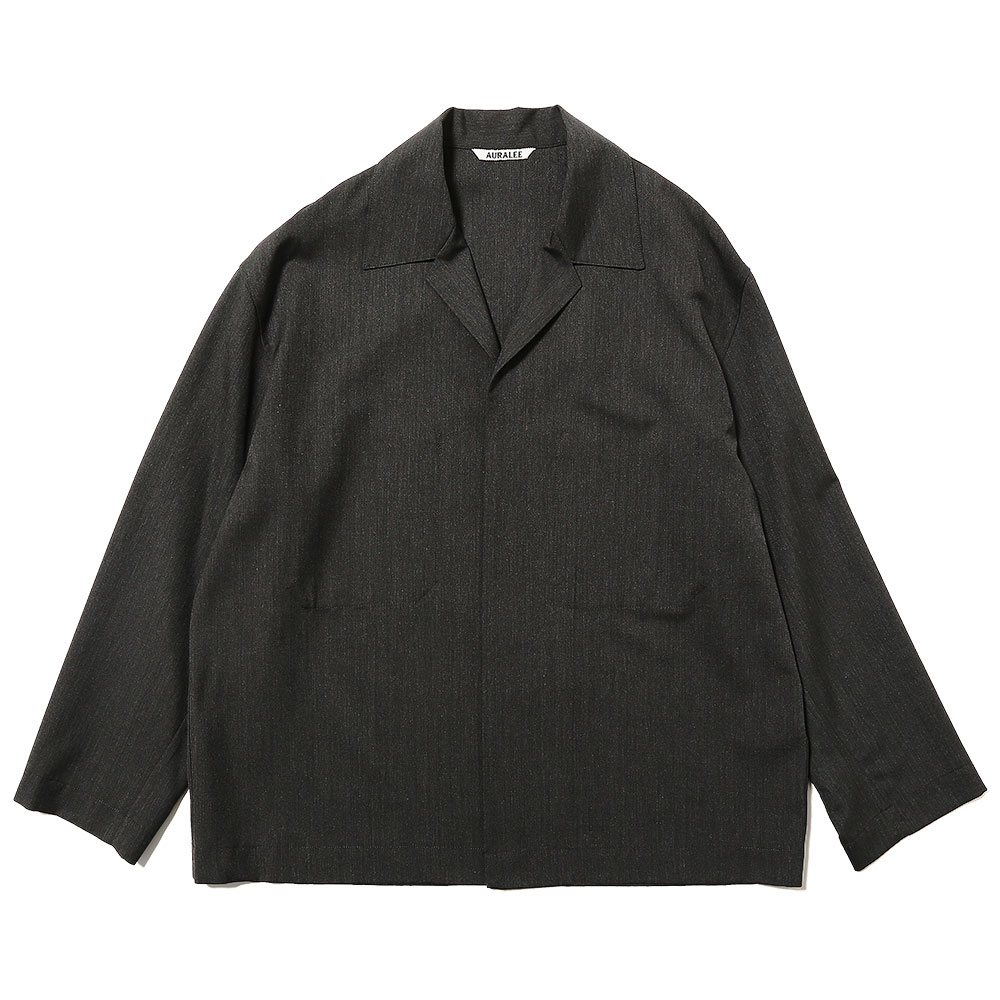 WOOL SILK TROPICAL SHIRTS JACKET CHARCOAL BLACK