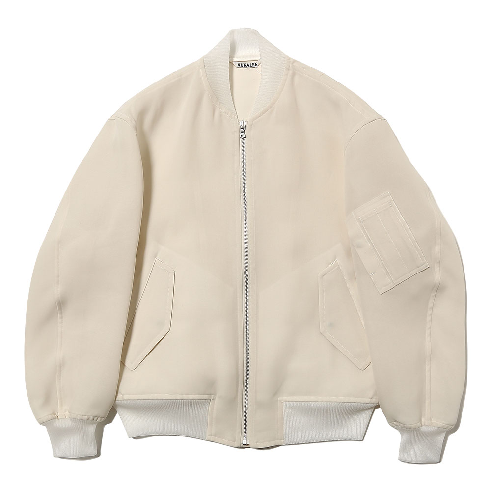 SILK TRIPLE CLOTH ZIP BLOUSON PALE WHITE
