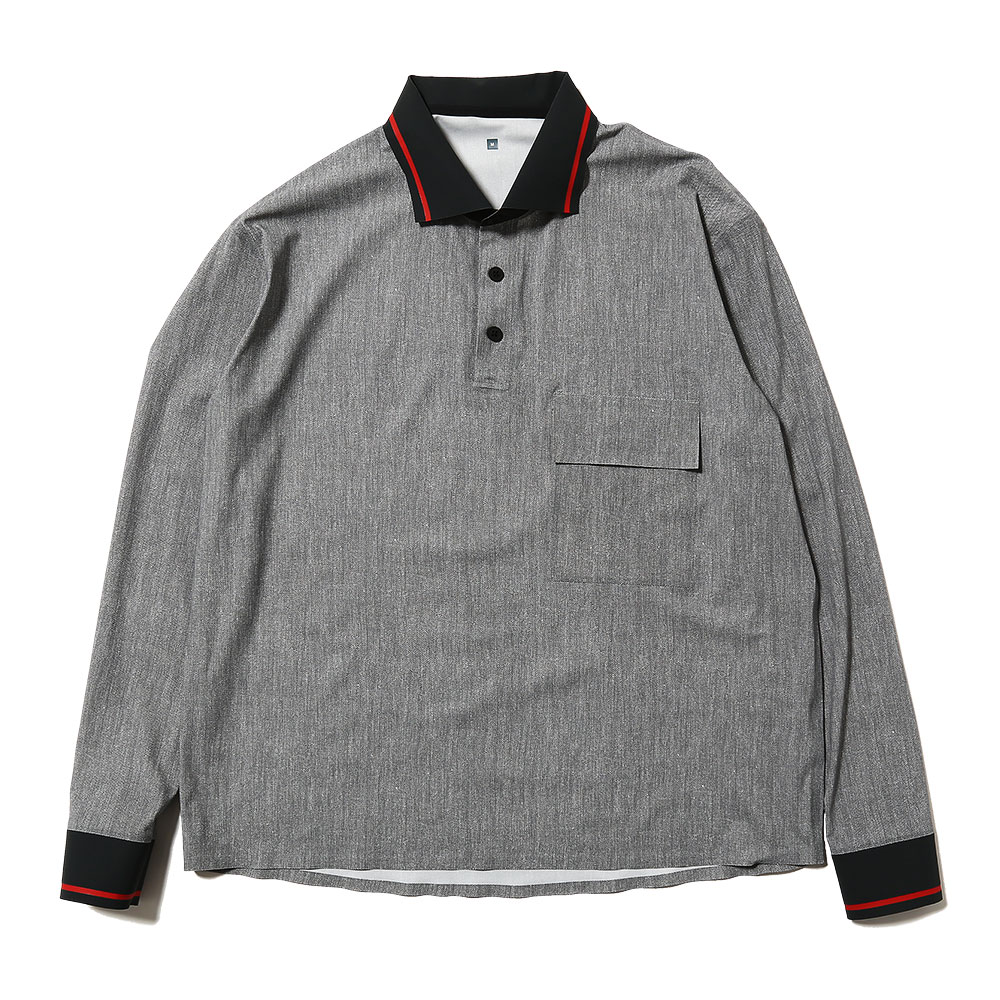 ULTRASOUND L/S IMITATION TAPED POLO SHIRT GREY
