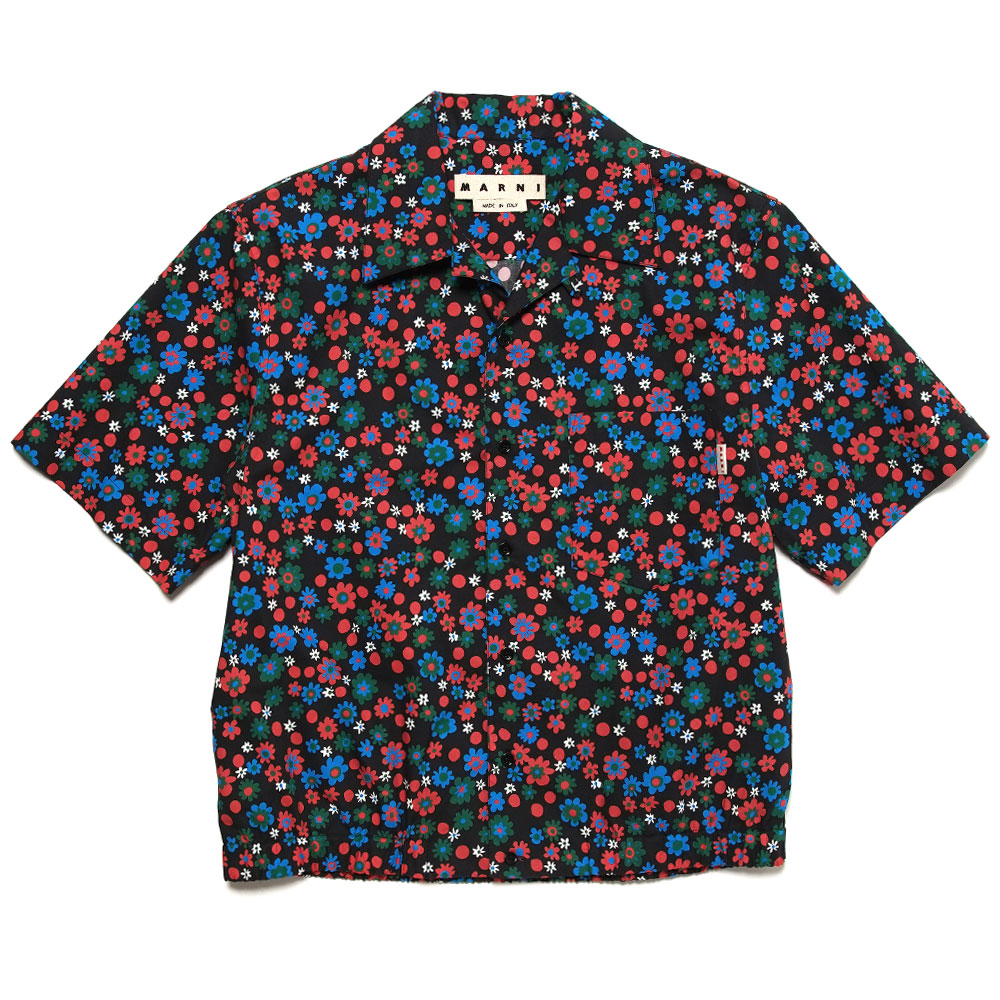 SMALL FLOWER PATTERN S/S SHIRT BLACK