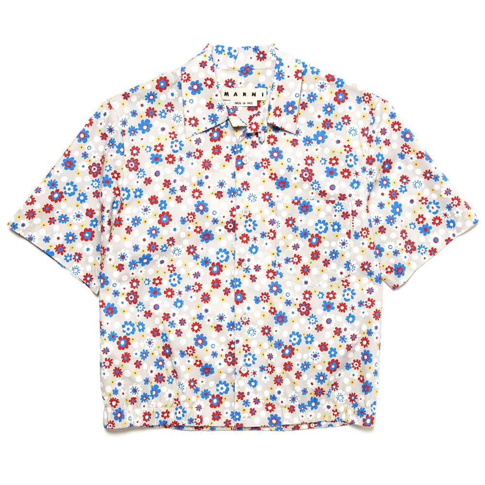SMALL FLOWER PATTERN S/S SHIRT WHITE
