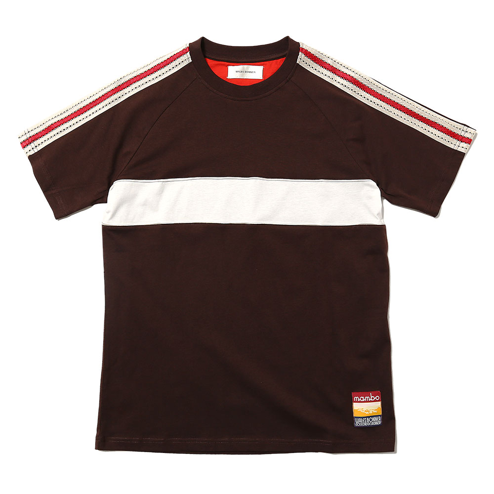 GEORGE PANELLED T-SHIRT DARK BROWN/IVORY
