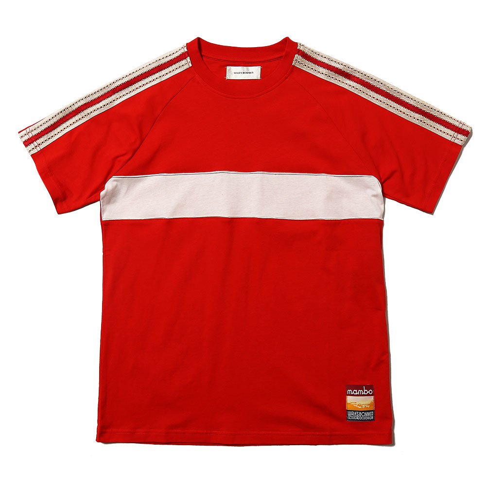 GEORGE PANELLED T-SHIRT RED/IVORY