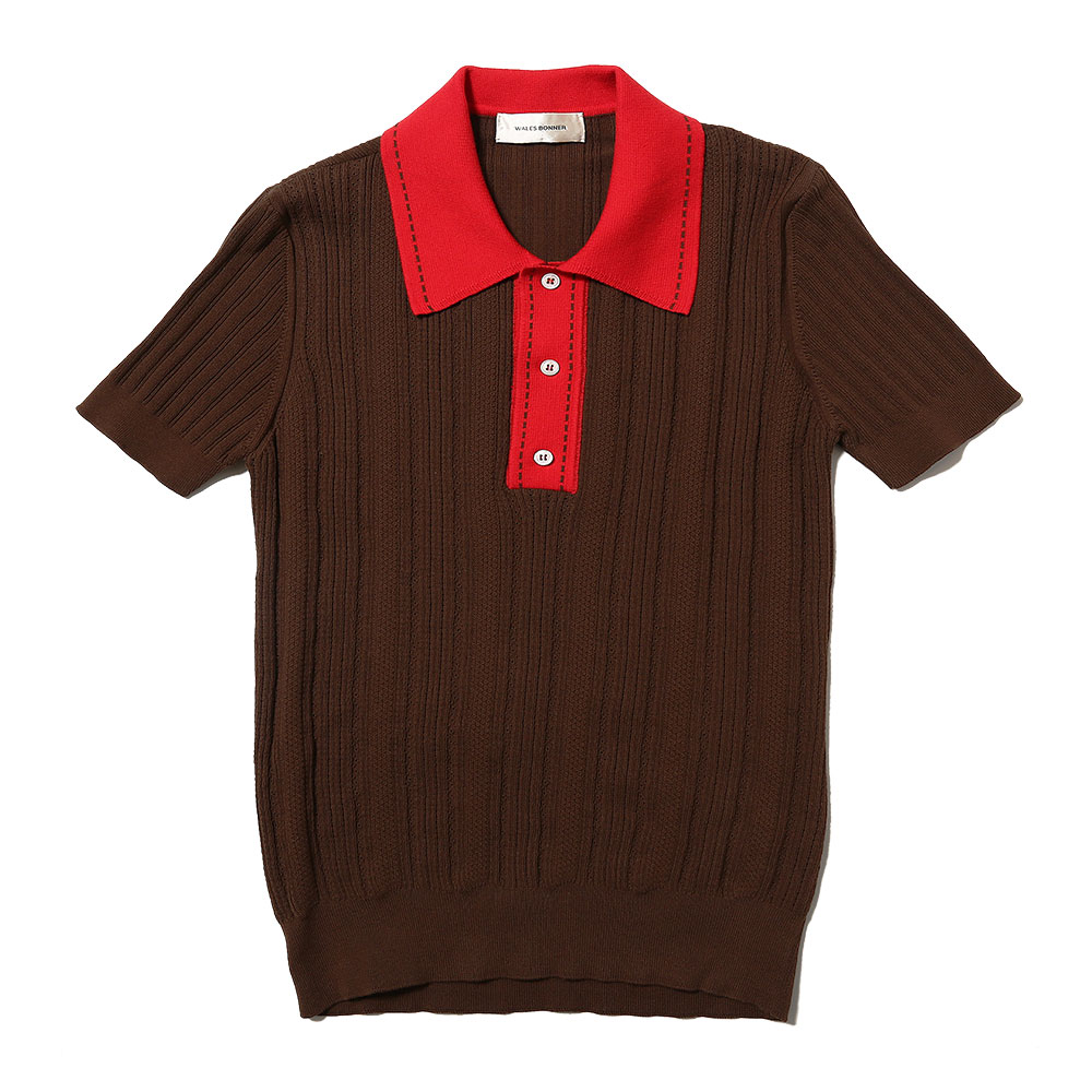 TEXTURED KNIT POLO BROWN/RED