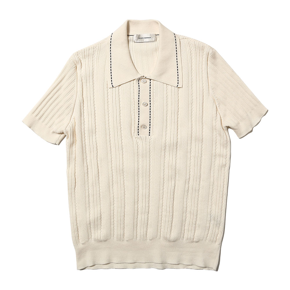 TEXTURED KNIT POLO IVORY/BLACK