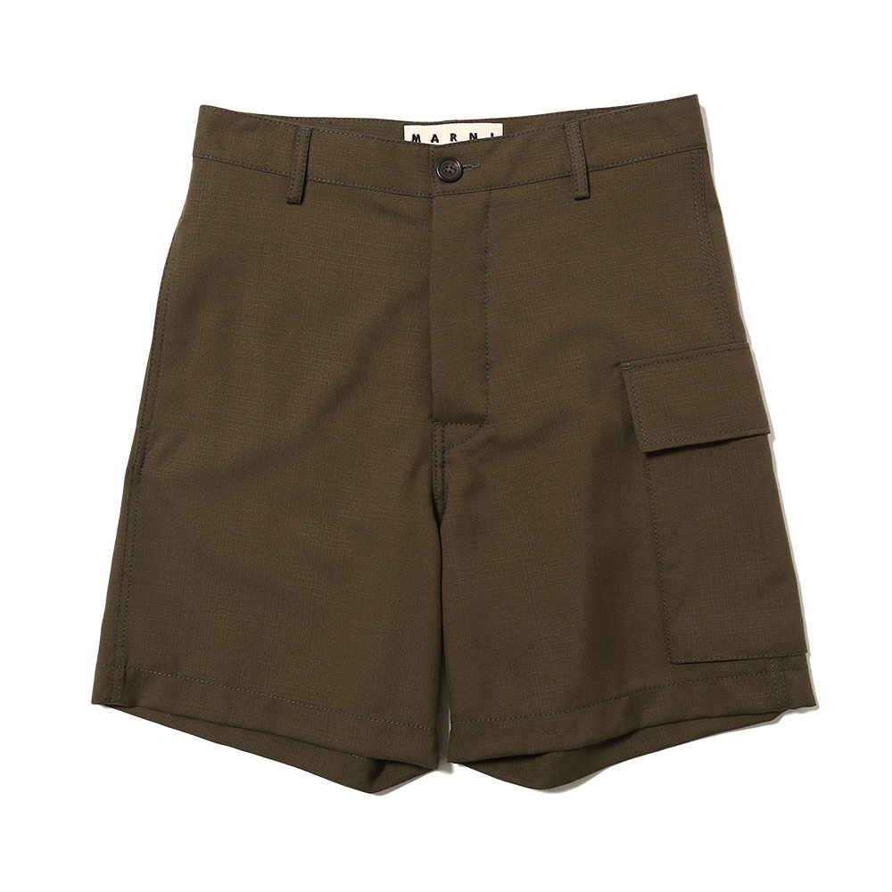 TROPICAL WOOL CARGO SHORT PANT KHAKI