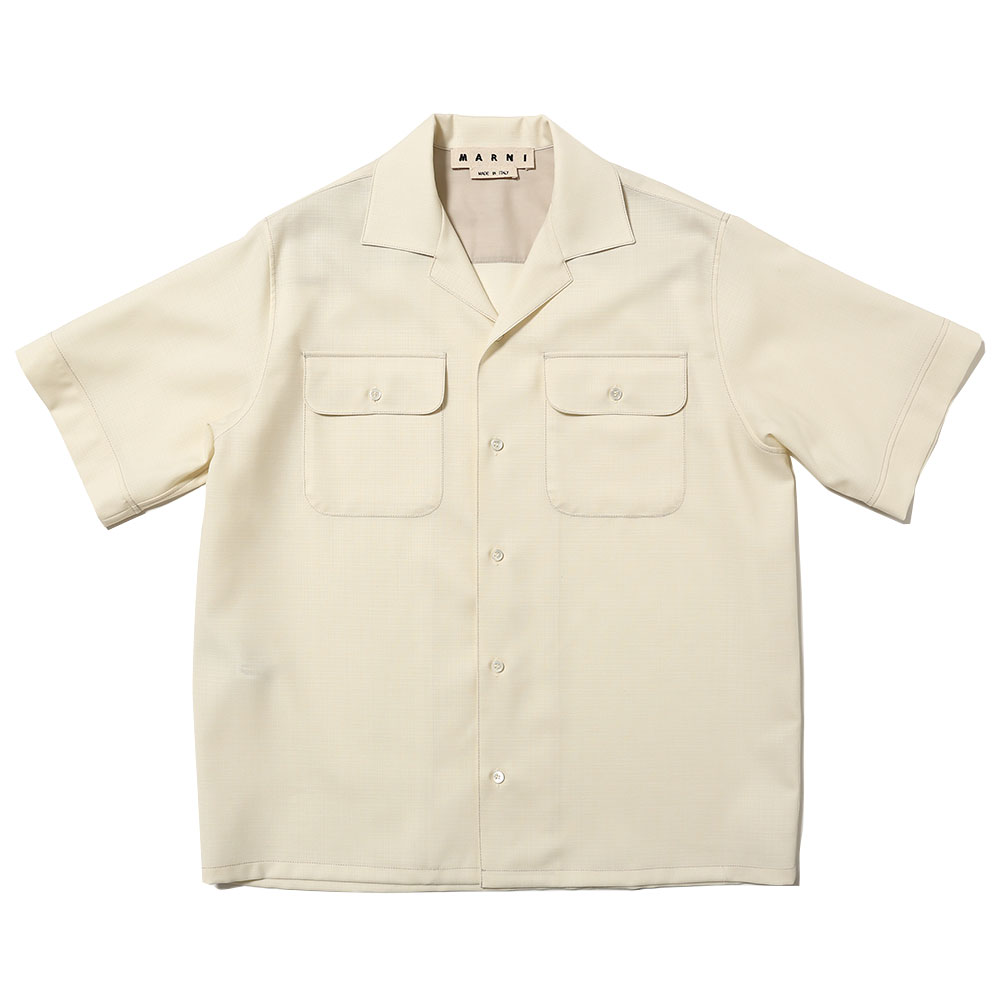TROPICAL WOOL SHORT SLEEVE SHIRT WHITE