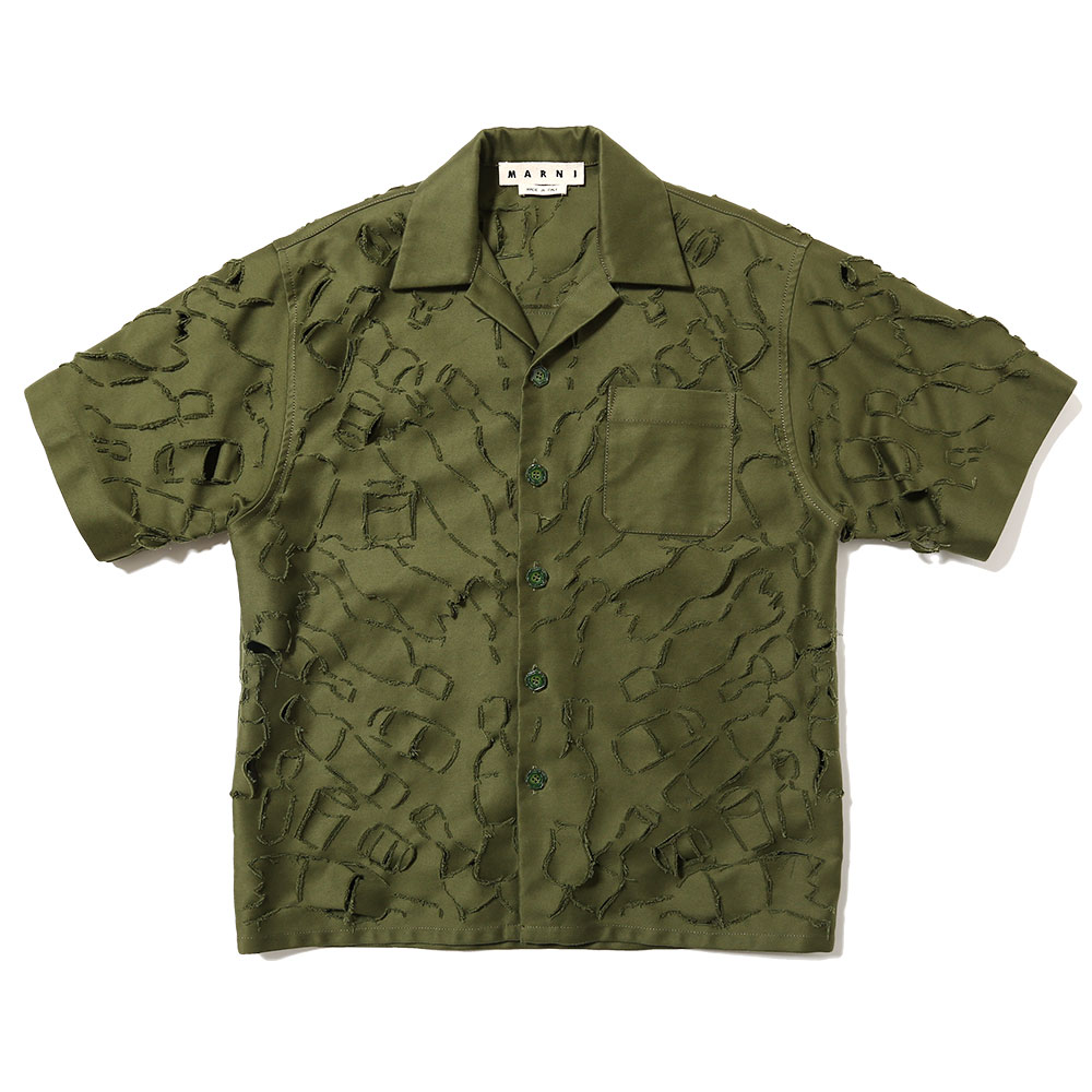 RANDOM CUT SHORT SLEEVE SHIRT OLIVE