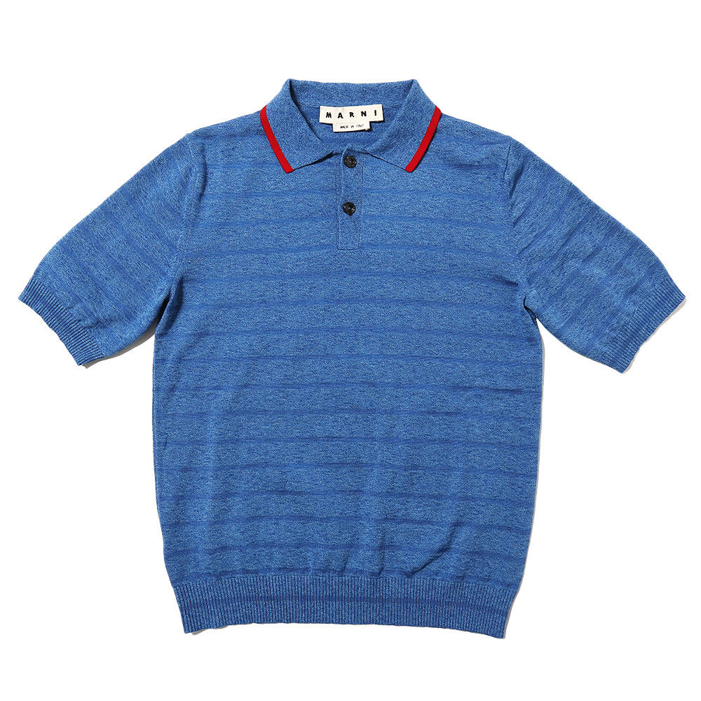 SHORT SLEEVE KNITTED POLO BLUE