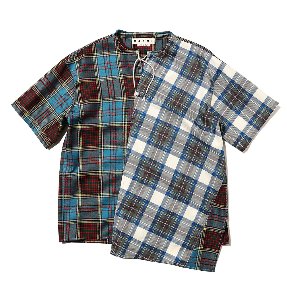 STRING COLLAR SHORT SLEEVE SHIRTS BLUE CHECK×WHITE