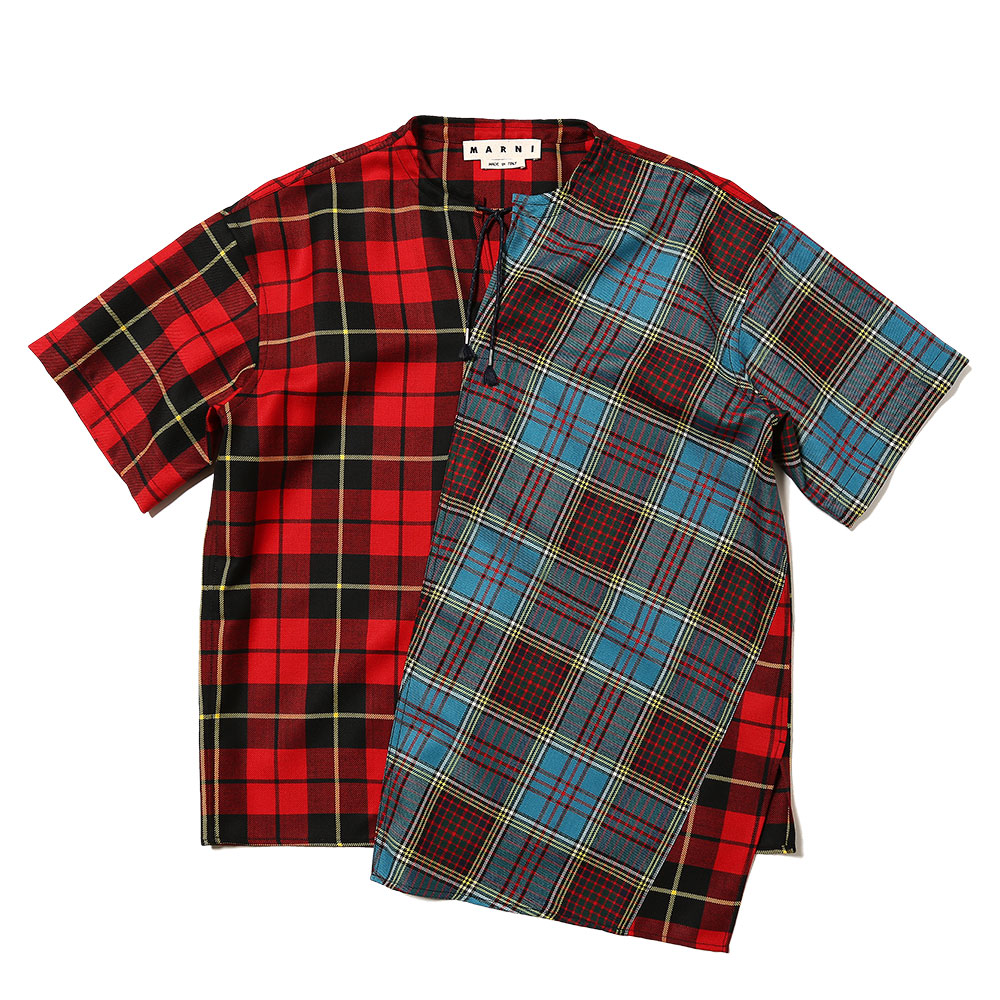 STRING COLLAR SHORT SLEEVE SHIRTS BLUE CHECK×RED C