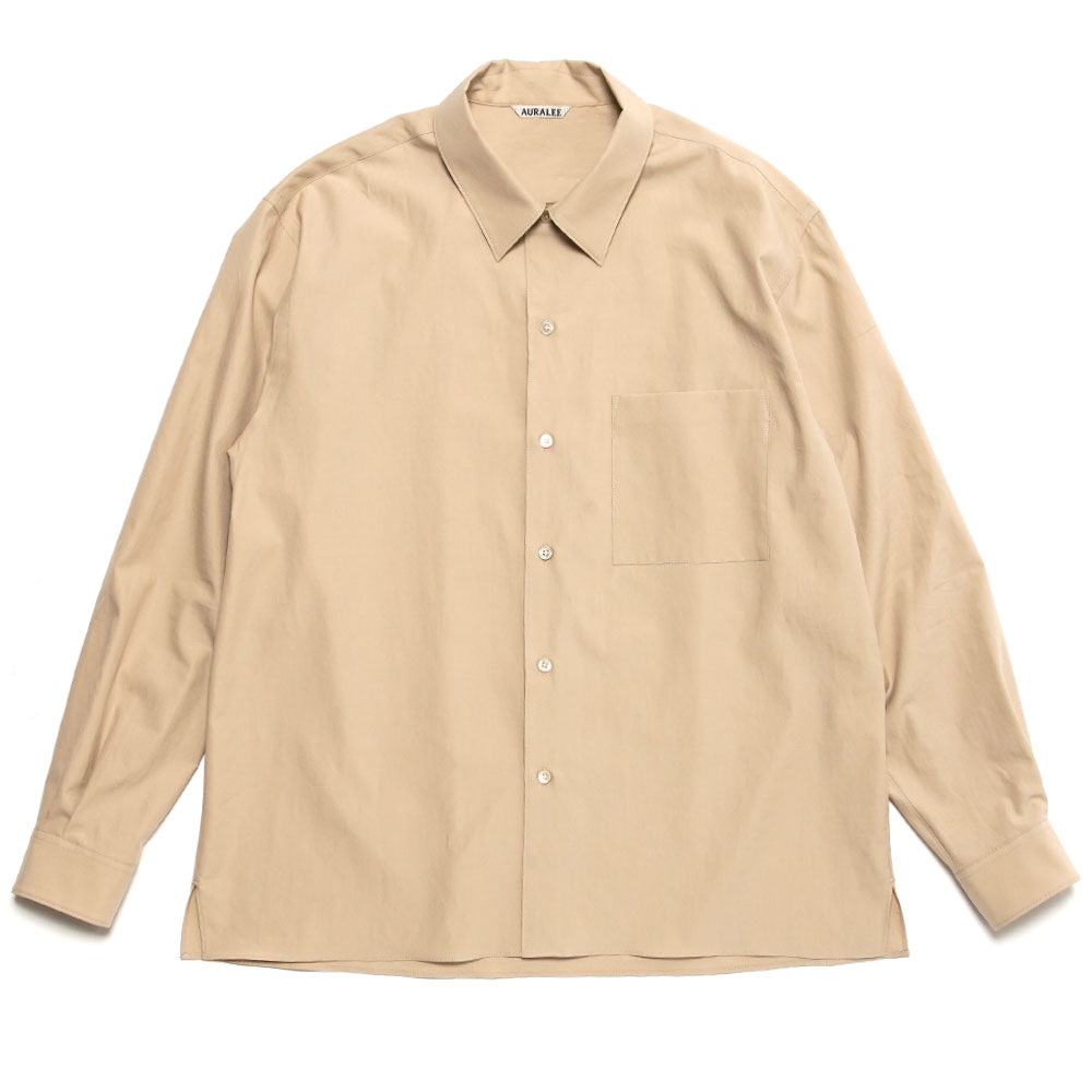 WASHED FINX TWILL BOX SHIRTS LIGHT BEIGE