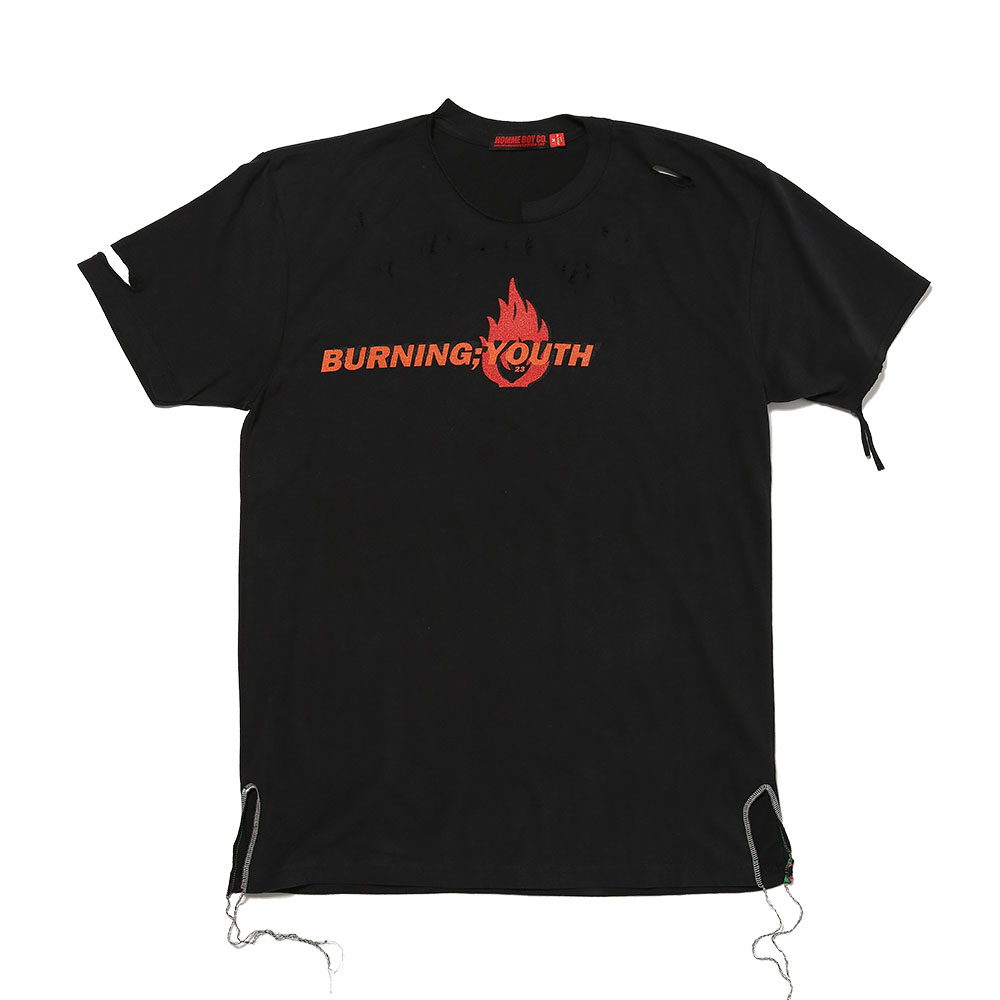 BURNING YOUTH DISTRESSED T-SHIRT BLACK