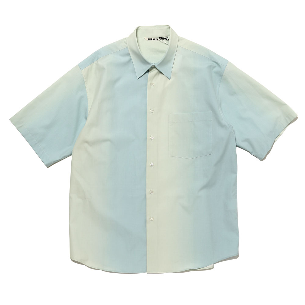 WASHED FINX GRADATION DYED HALF SLEEVED SHIRTS MORNING BLUE