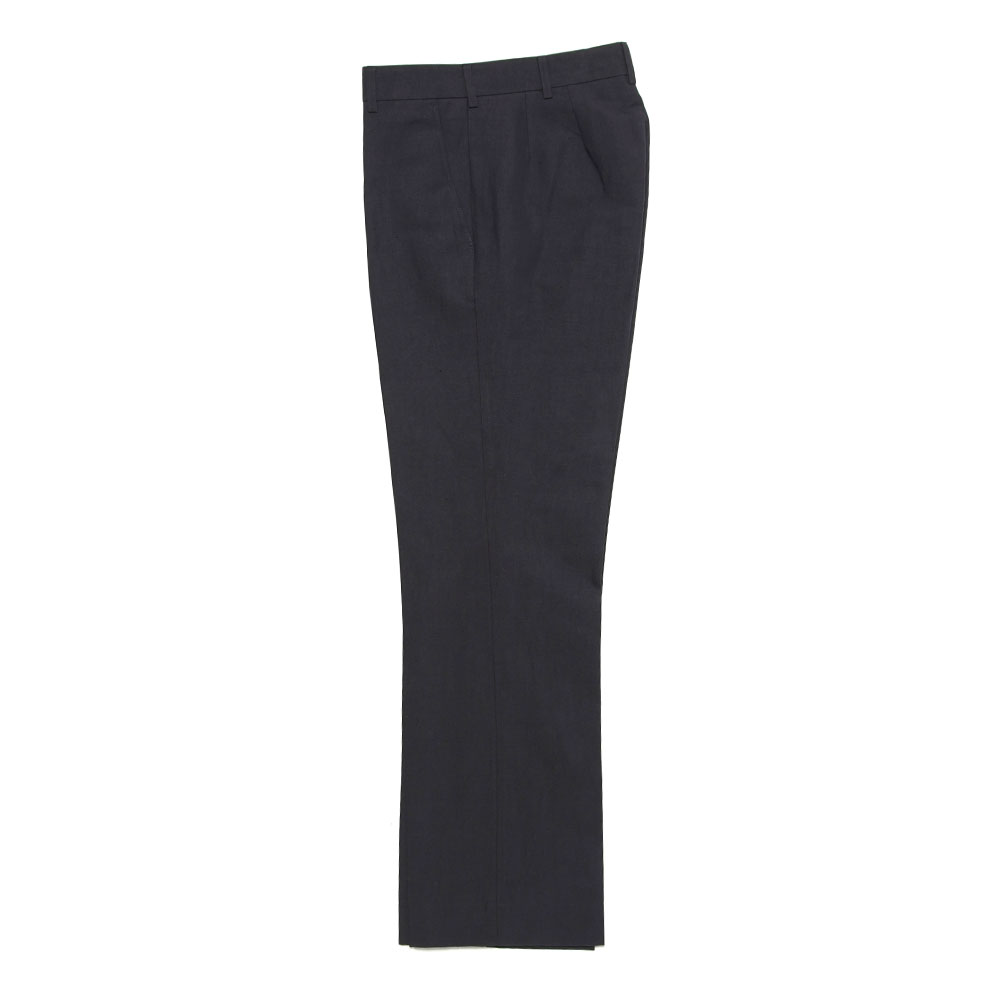 TAILORED TROUSERS COTTON LINEN WIDE DARK NAVY