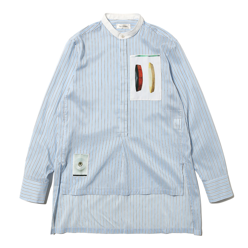 MANDALINE COLLAR SHIRT W PATCHES