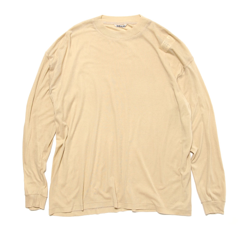 GIZA SUPER HIGH GAUGE SHEER RIB L/S TEE LIGHT BEIGE