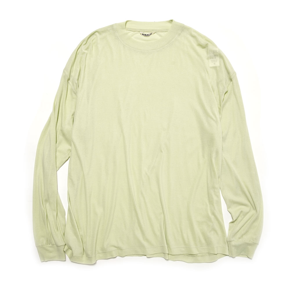 GIZA SUPER HIGH GAUGE SHEER RIB L/S TEE LIGHT GREEN