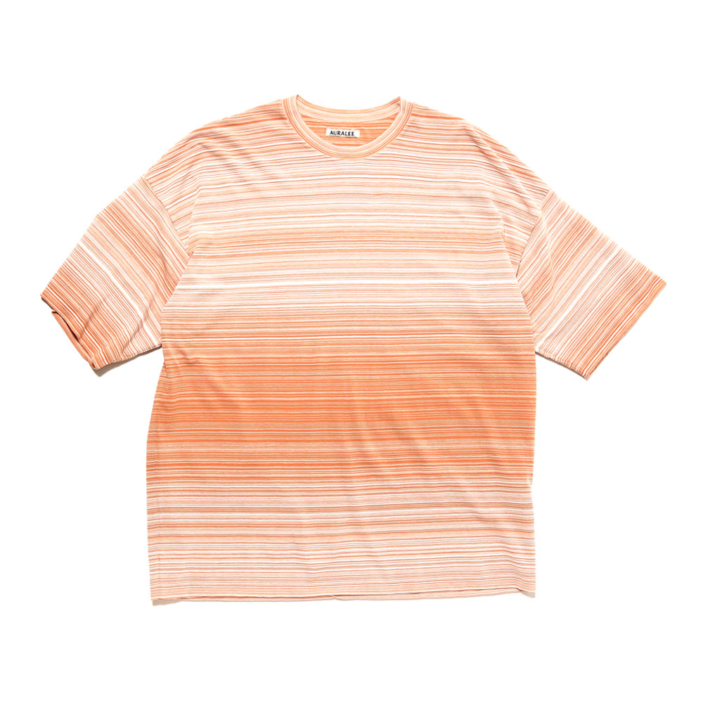 HARD TWIST BORDER DOUBLE CLOTH TEE LIGHT ORANGE