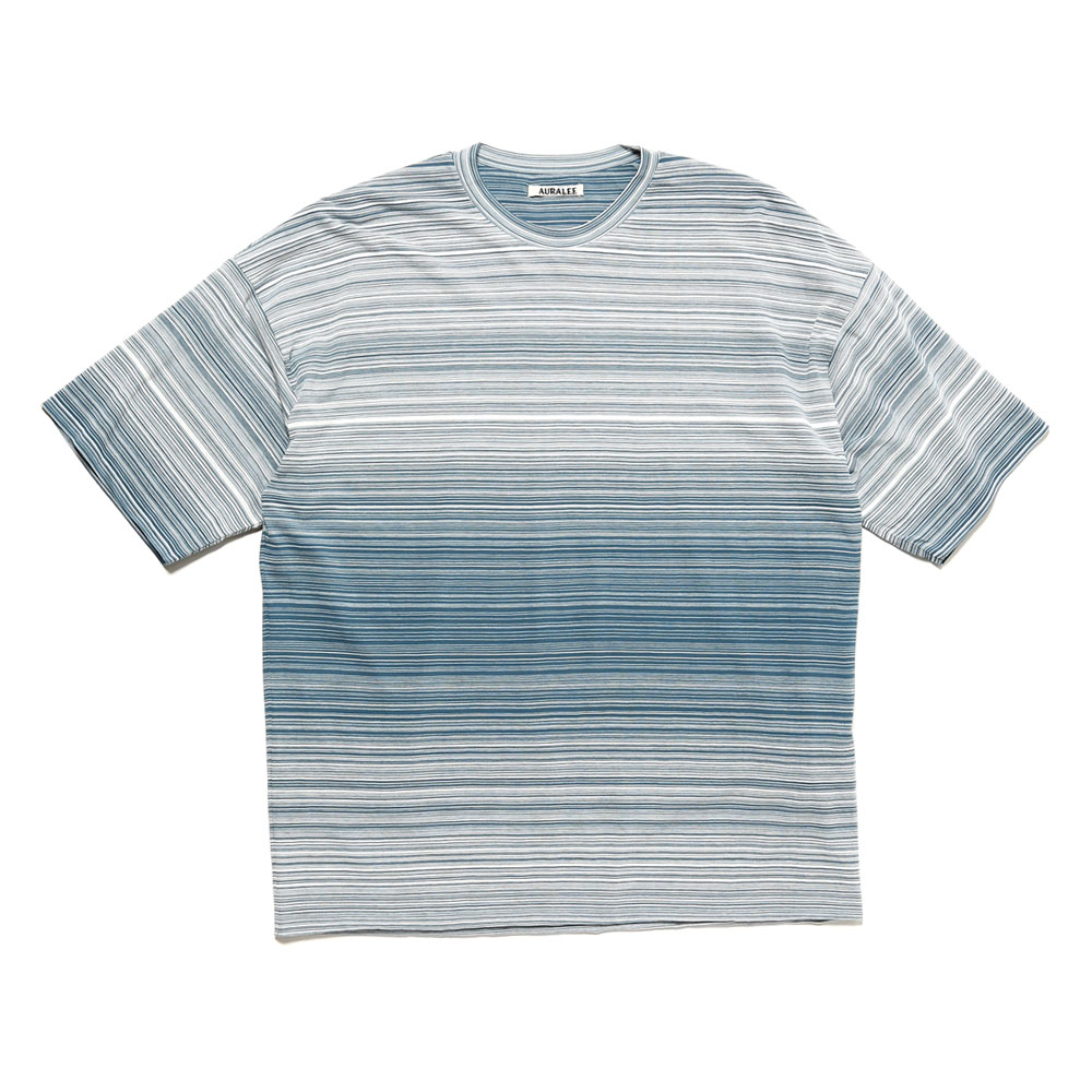 HARD TWIST BORDER DOUBLE CLOTH TEE BLUE