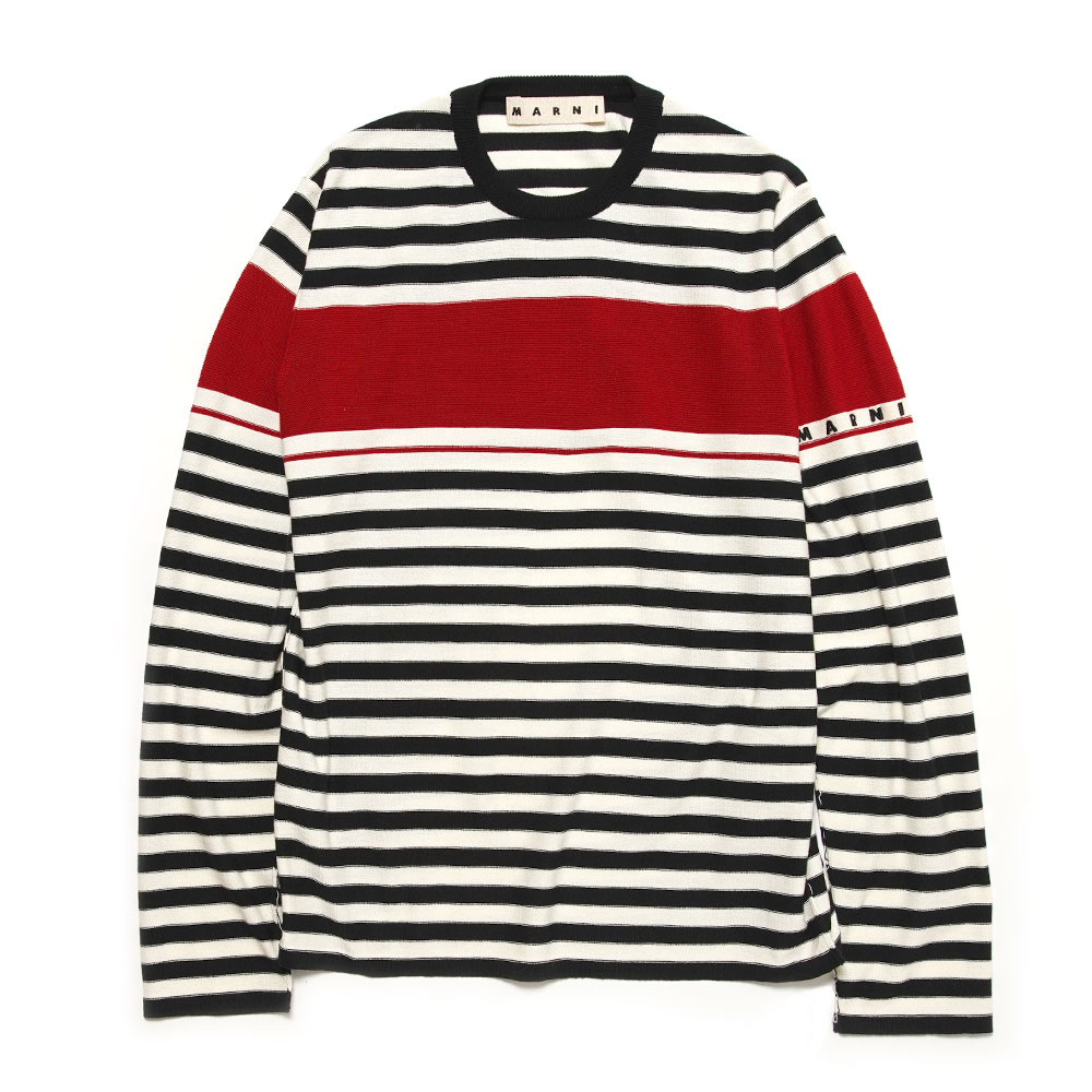 LIGHT COTTON BORDER CREWNECK SWEATER BLK/RED/WHT