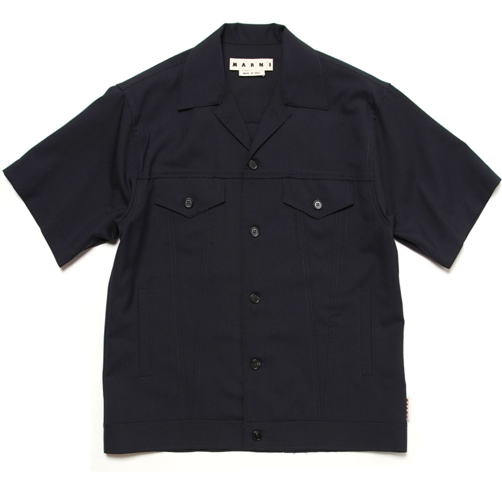TROPICAL WOOL S/S SHIRT JACKET NAVY