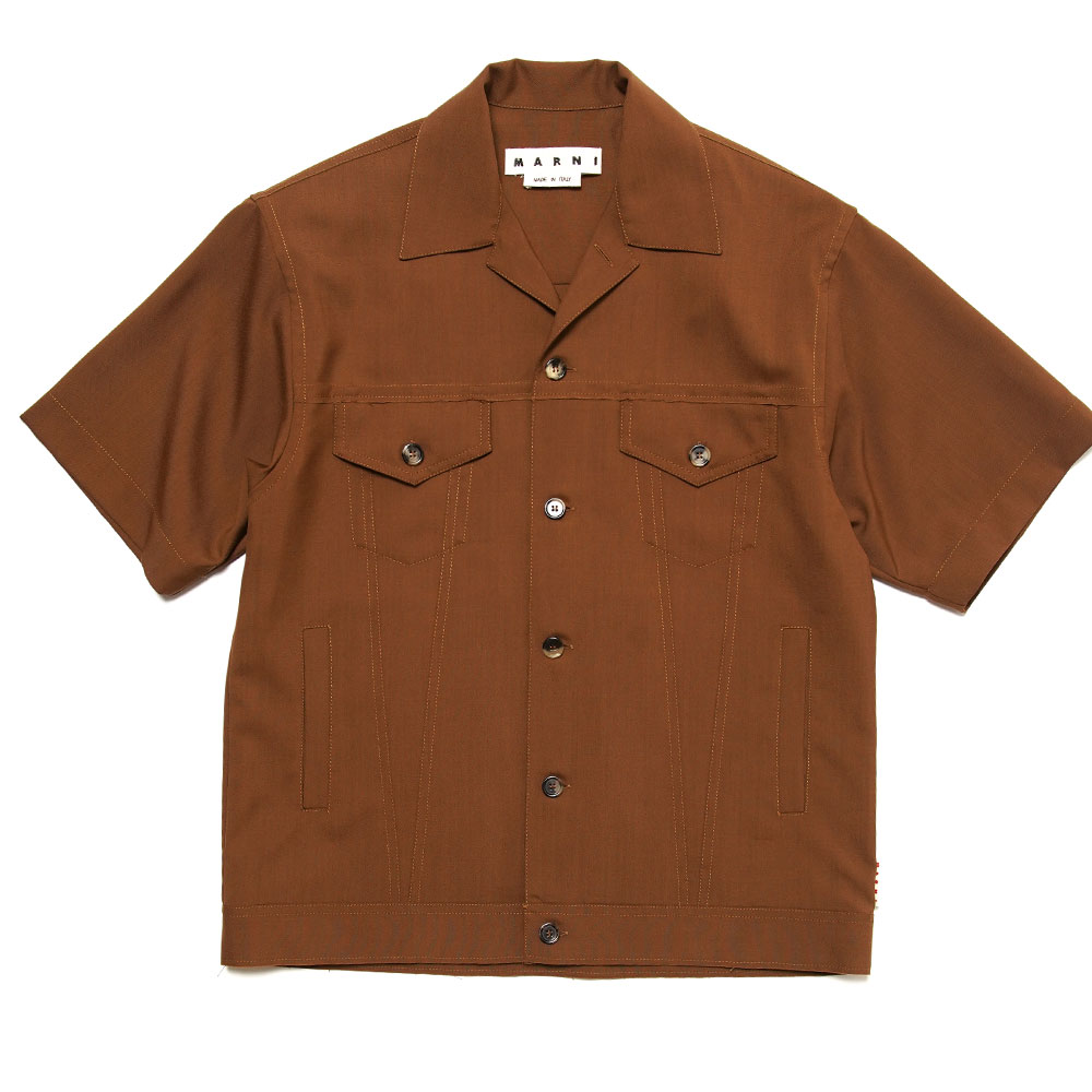 TROPICAL WOOL S/S SHIRT JACKET BROWN