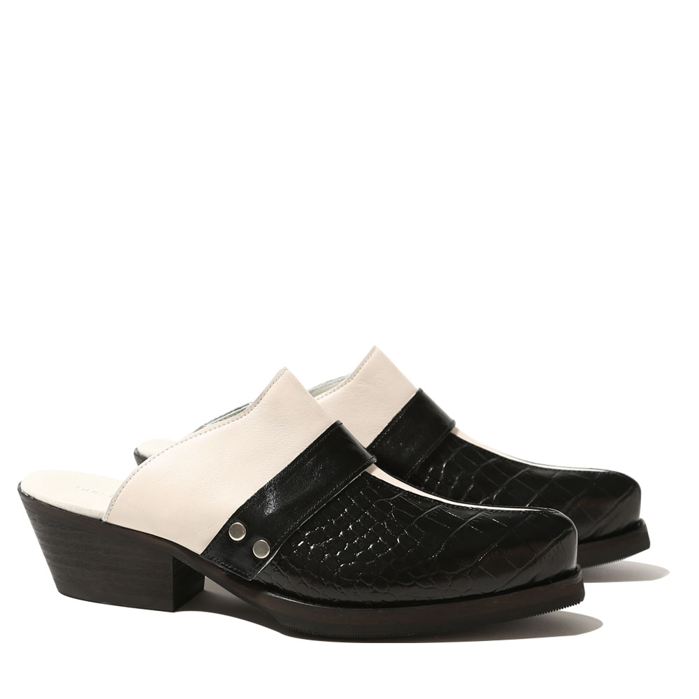 MANTA MULE BLACK CROCODILE LEATHER