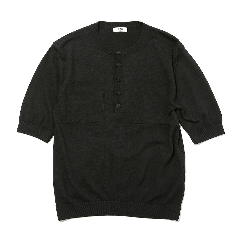 BUTTON UP CREW NECK TEE KNITTED BLACK