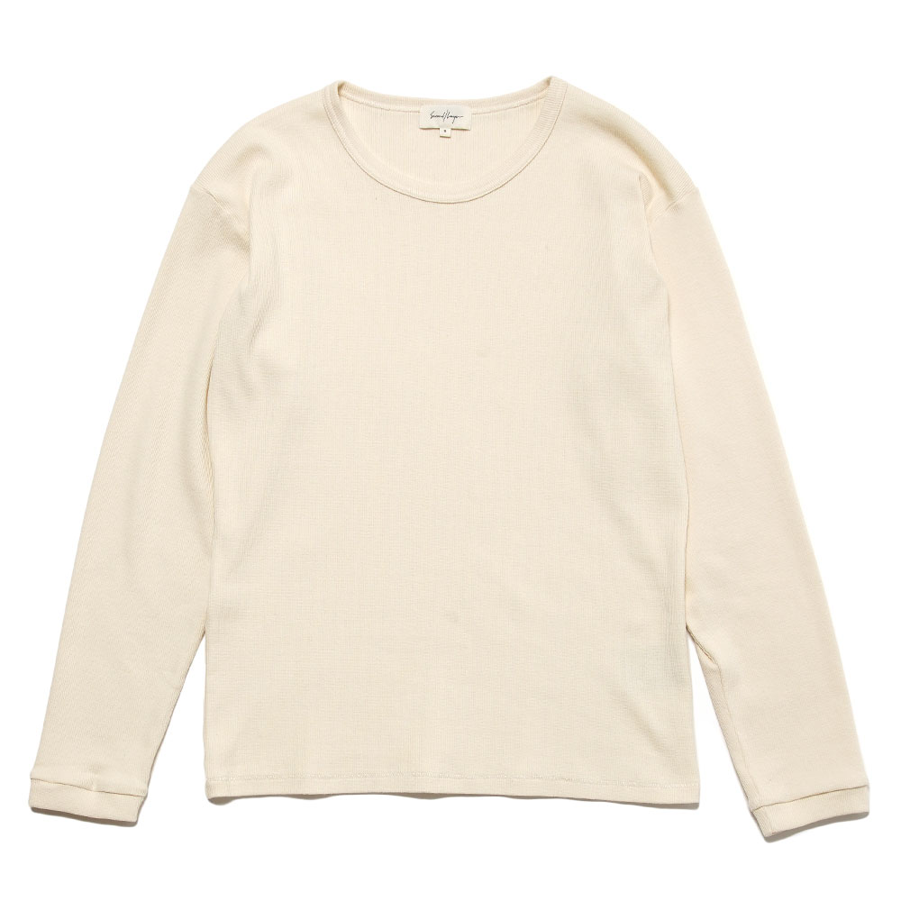 L/S RIBBED TEE ANTIQUE WHITE