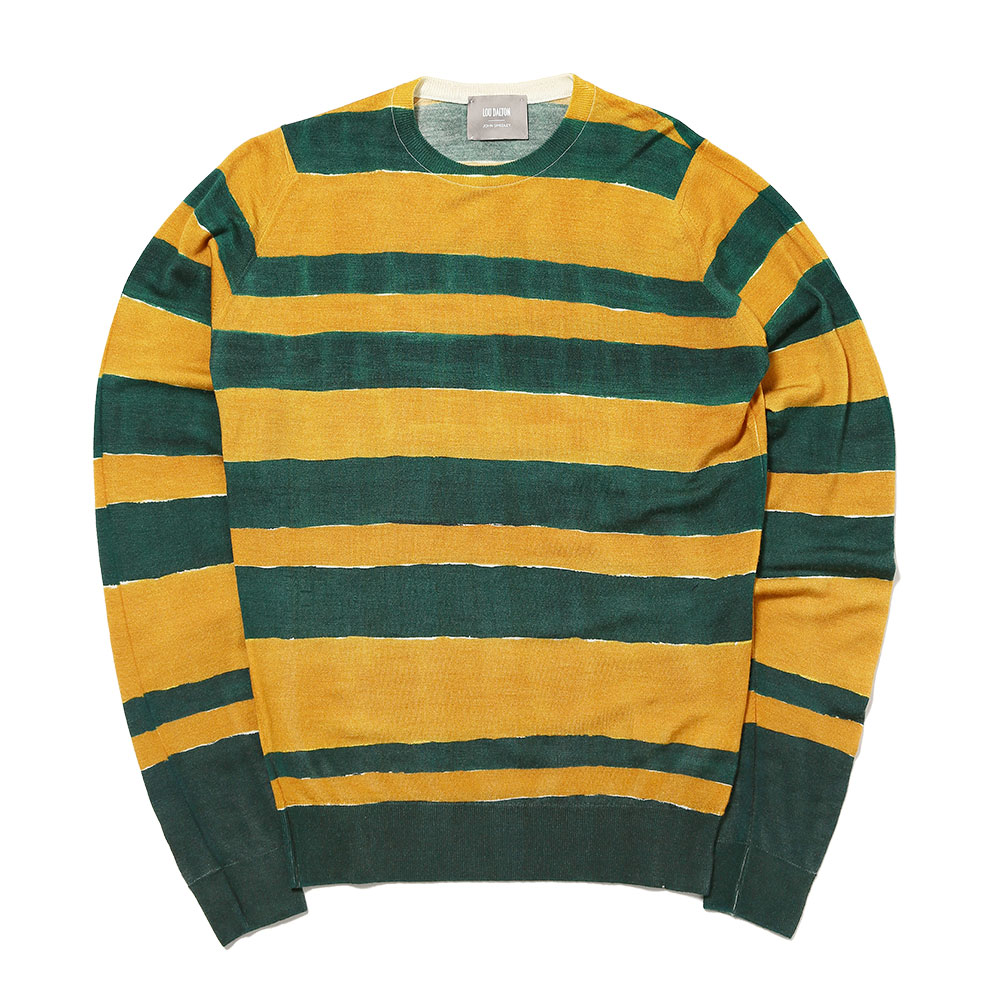 MERINO WOOL 2 X COL HAND DRAWN STRIPE CREW