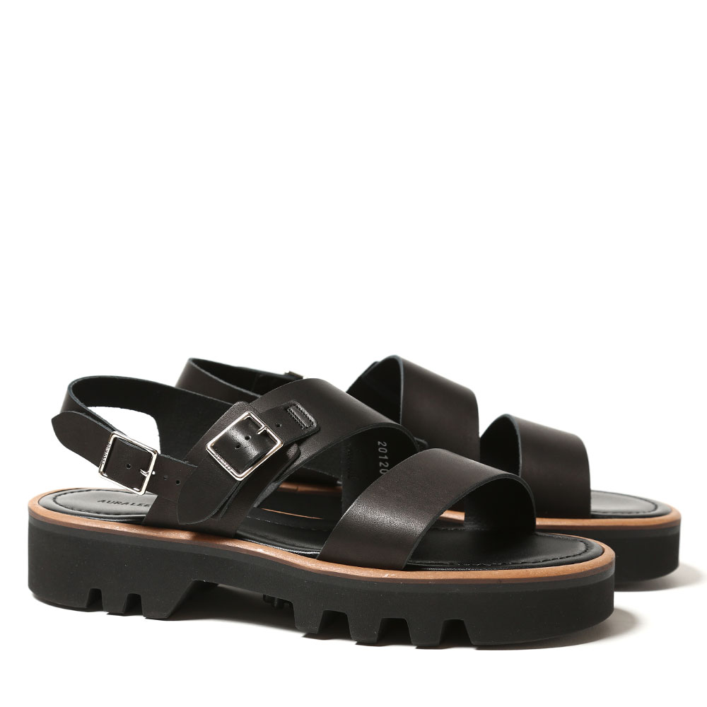 LEATHER BELT SANDALS MADE BY FOOT THE COACHER A20SS02FC BLACK