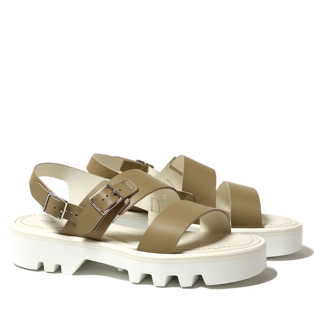 LEATHER BELT SANDALS MADE BY FOOT THE COACHER A20SS02FC BEIGE x WHITE