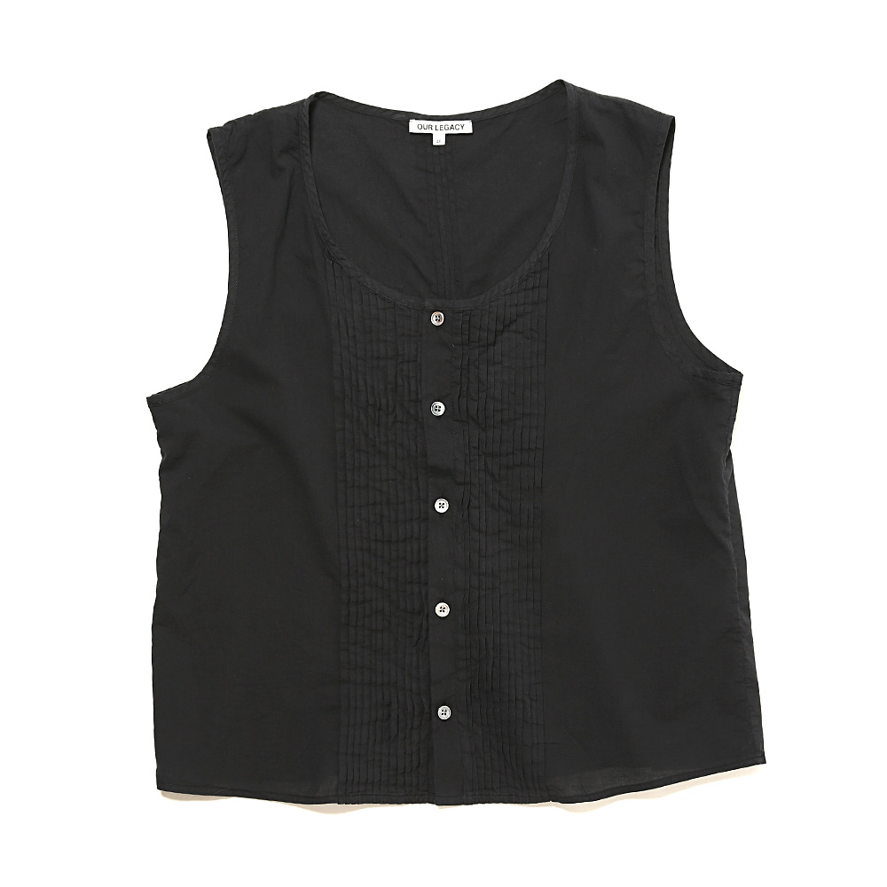 PLEATED SLEEVELESS SHIRT BLACK VOILE